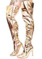 Cape Robbin Metallic Gold Thigh Boots