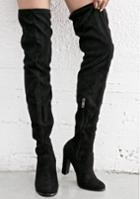 Cape Robbin Black Suede Over The Knee Boots