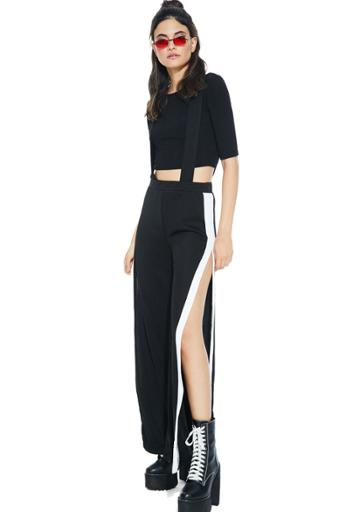 Daylight Suspender Jumpsuit Crop Set Black