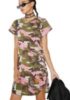 Pinklicious Camo Distressed Tshirt Dress