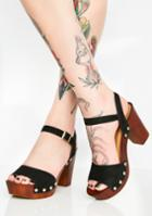 Qupid Wooden Platform Sandals