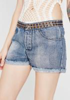 Pol Clothing Embroidered Denim Shorts