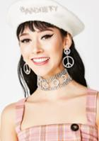Fame Accessories Crystal Peace Sign Earrings