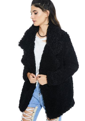 Audrey 3+1 Faux Fur Shag Oversize Coat Black
