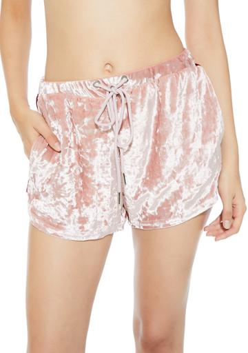 Essue Velour Dolphin Hem Shorts Pink