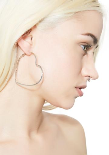 Ana Accessories Heart Hoop Earrings Silver