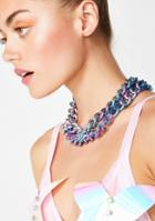 Icco Accessories Purple Double Layer Chain Necklace