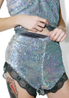 Rehab Silver Lace Sequin Shorts