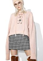 Rehab Chunky Pink Lace Up Sweater