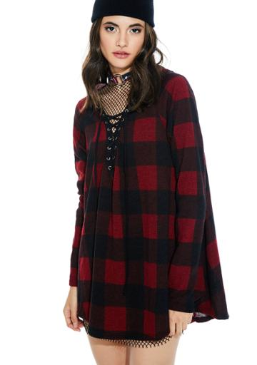 Maronie Buffalo Plaid Pullover Lace Up Hoodie