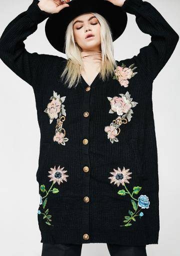 Dance & Marvel Ribbed Floral Embroidered Black Cardigan