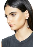 Fame Accessories Crystal Cube Silver Drop Earrings