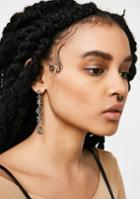 Fame Accessories Love Text Silver Earrings