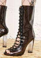 Cape Robbin Clear Black Lace Up Perspex Boot