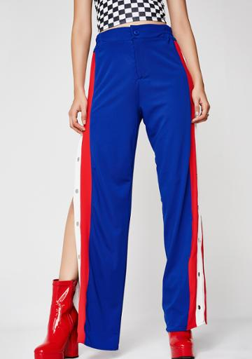 Hot & Delicious Blue And Red Snap Track Pants