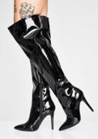 Qupid Black Patent Thigh High Boots