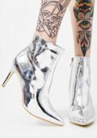 Athena Footwear Pointed Toe Metallic Silver Booties