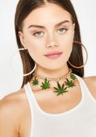 Ciel Gold Chain Weed Leaf Charm Necklace