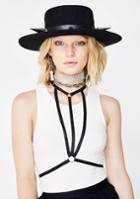 Fame Accessories Black Strappy O Ring Choker Body Harness