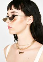 Lucent Brown Tinted Half Moon Sunglasses