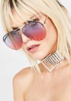 Lucent Ombre Studded Aviator Sunglasses
