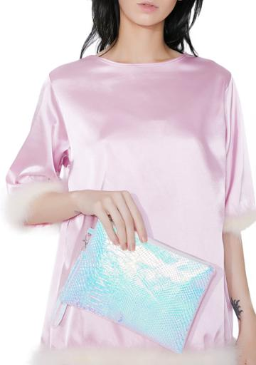 Ana Accessories Pink Holographic Snakeskin Clutch