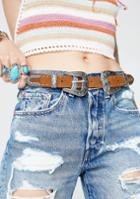 Fame Accessories Studded Double Buckle Belt