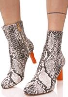 Cape Robbin Grey Snakeskin Contrast Ankle Boots