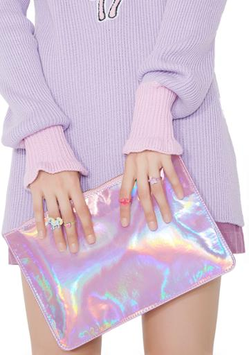 Ana Accessories Pink Holographic Clutch Purse