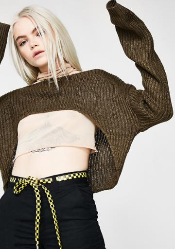 Tic Toc Olive Cropped Knit Sweater