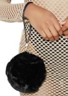 Fame Accessories Fuzzy Round Black Wristlet