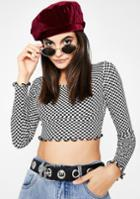 Better Be Checkered Long Sleeve Crop Top
