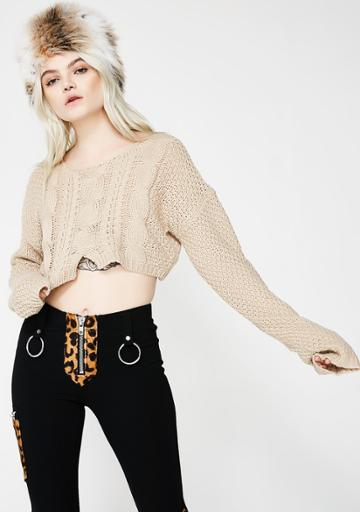 Tic Toc Taupe Cropped Knit Sweater