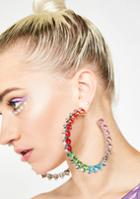 Impulse Fashion Accessories Rainbow Rhinestone Jewel Hoop Earrings