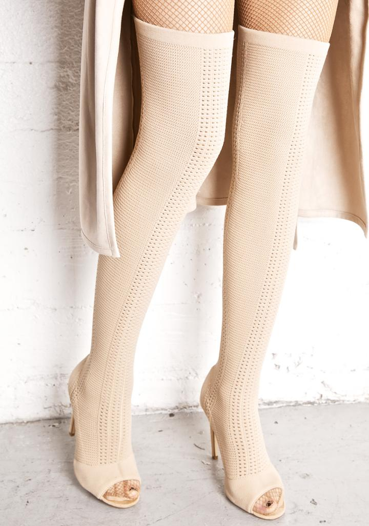 Cape Robbin Nude Knit Thigh High Open Toe Boots