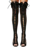 Cape Robbin Fishnet Lace Up Black Thigh High Boots