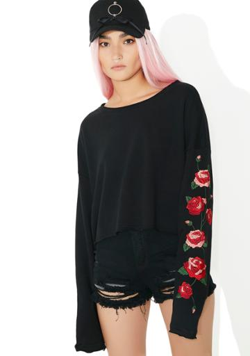 Honey Punch Black Embroidered Rose Sweatshirt Top