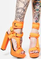 Liliana Orange Strappy Platform Heels