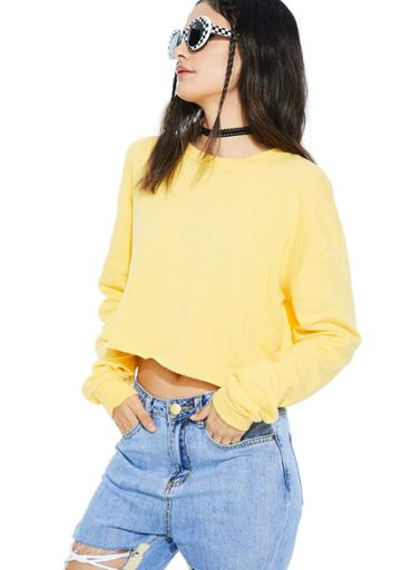 Rock N Rose (la) Cropped Pullover Sweater Yellow