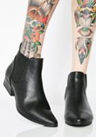 Qupid Black Pointed Toe Ankle Booties