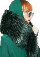 Ana Accessories Green Faux Fur Stole