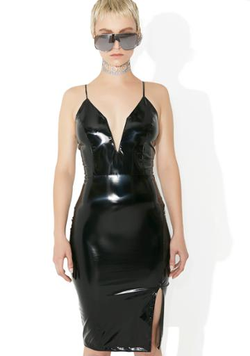 Goodtime Usa Vinyl Plunging Bodycon Dress Black