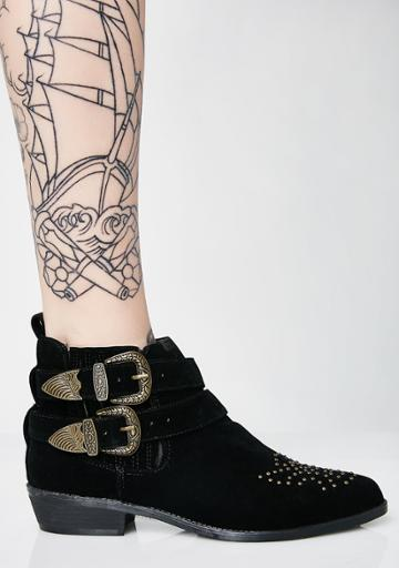 M&l Studded Buckle Booties