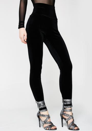 Nude Label High Waisted Black Velvet Leggings