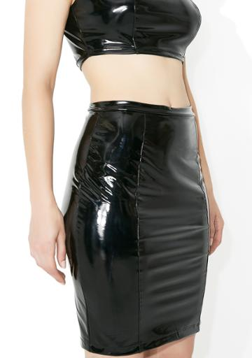 K Too Black Vinyl Bodycon Skirt