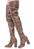 Cape Robbin Brown Snakeskin Thigh High Boots