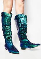 Cape Robbin Slouchy Sequin Blue Green Boots