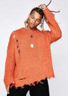 Rehab Oversized Distressed Piercing Sweater