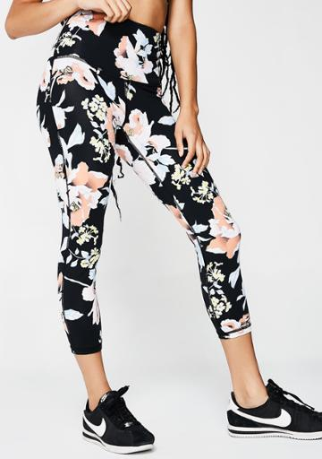 Mono B High Waisted Black Floral Leggings