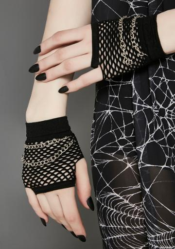 Fad Treasures Double Chain Fishnet Gloves